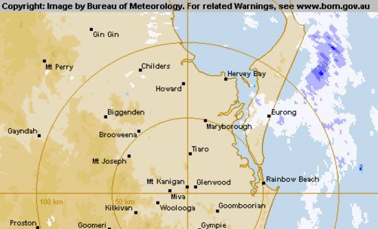 The Bureau of Meteorology radar shows showers crossing Hervey Bay about 6am on Thursday.