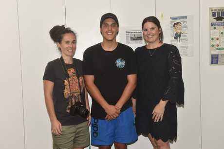Joe with his teachers Emma Burridge and Mary-Ann Caslin, who worked on the project with the students.