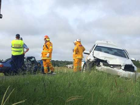 The scene of a crash between two cars on the Bruxner Highway at south Gundurimba.