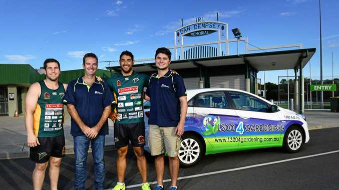Ipswich Jets captain Dane Phillips and front rower Billy McConnachie with new sponsors from 13004Gardening Joel Farmer and Jeff Lituri.