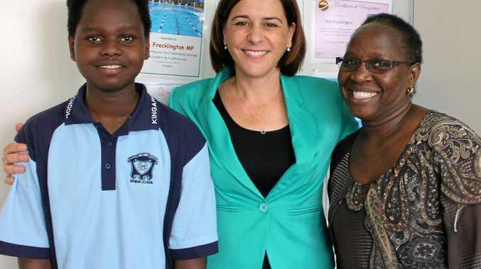 HAPPY OUTCOME: Esther and Edwin Kinyanjui with Deb Frecklington.