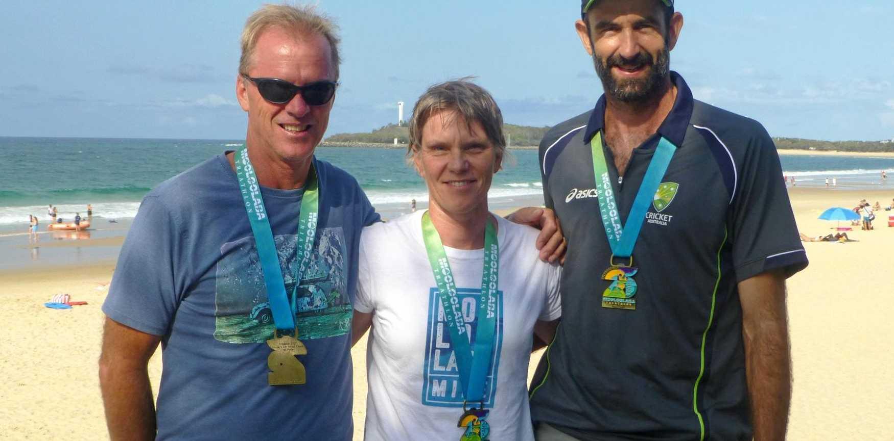 The successful Big Hit triathlon team (from left) Robert Partington, Shiralee Bielenberg and Paul Shard at the 2017 Mooloolaba Triathlon.
