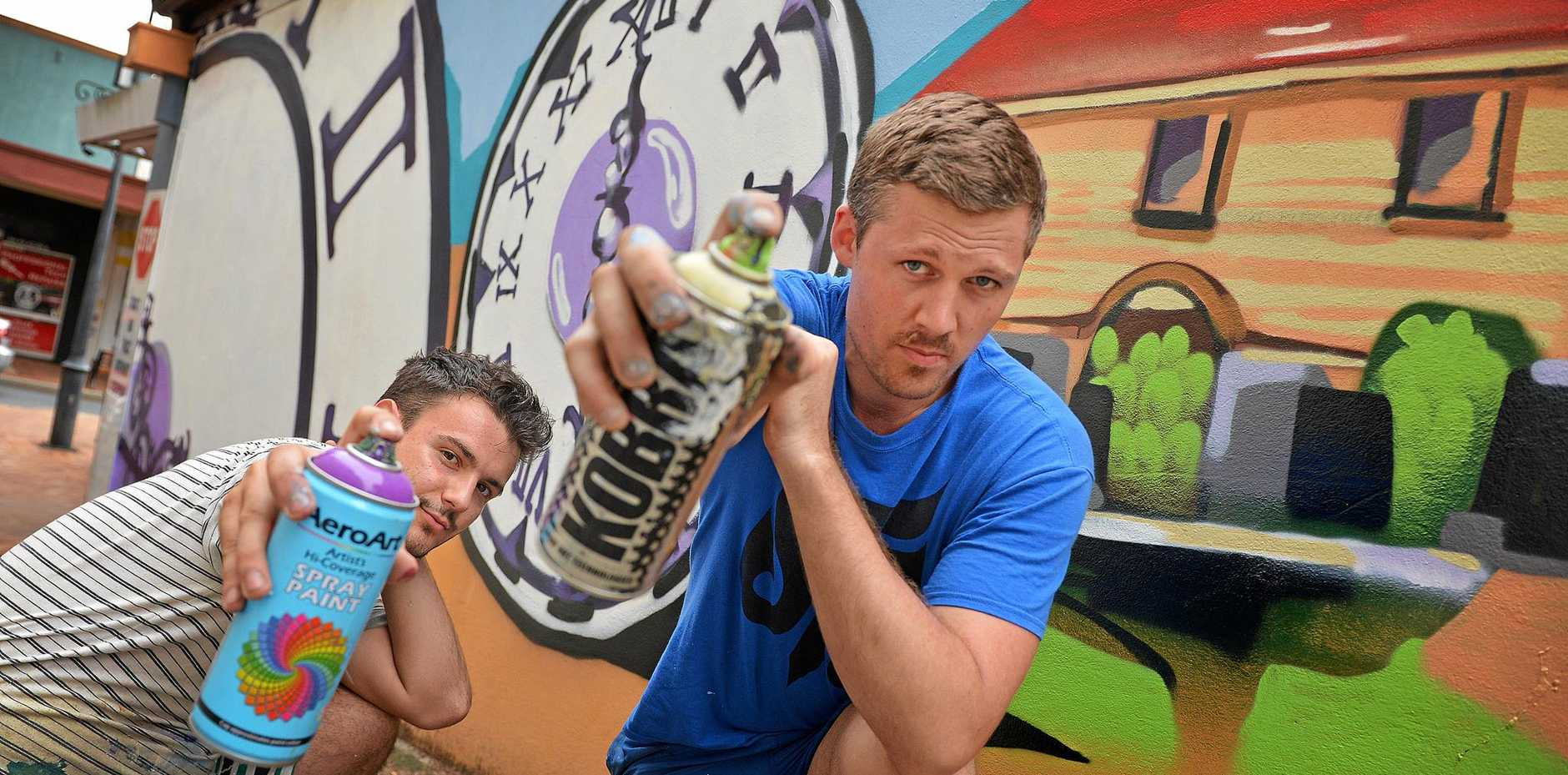 FROM BLAND TO GRAND: James Ellis and Jesse Jensen are brining the artistic flair of street art to Gympie..