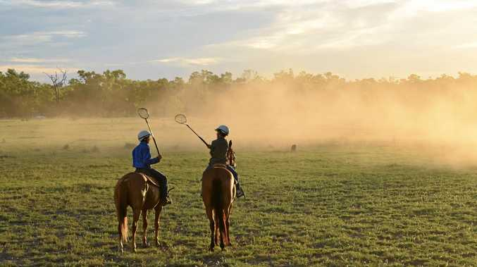 LIFE ON LAND: Jet Sargood (left) and Sam Sargood play polocrosse at Wellwater on their school holidays.