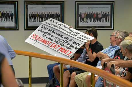 Sand mine opponents attend the Nambour Council Chambers in October last year when the application was refused by the council.