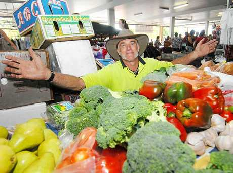 Peter Gosper selling fruit and vegies at the Troppo Markets at Mt Pleasant.