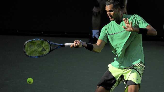 Nick Kyrgios, of Australia, on his way to beating Novak Djokovic.