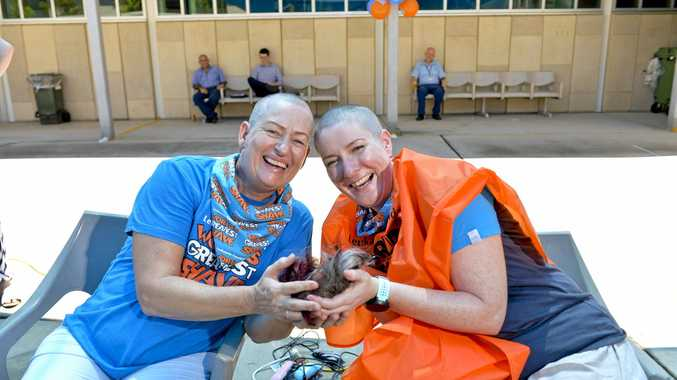 FUNDRAISER: Gladstone nurses Lilian Ghosh and Lisa Donaldson shaved their heads for the World's Greatest Shave.