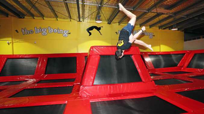 BOUNCE: Raymond Elliott, 16 years old shows off some tricks at the Big Boing Indoor Trampoline Park.