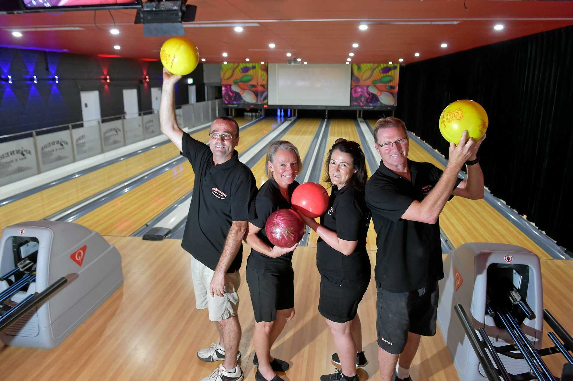 The Spinners Bar and Bowls has opened in Caloundra.Owners David and Trish Mullins with Colleen and Fred Mineham ready for action.