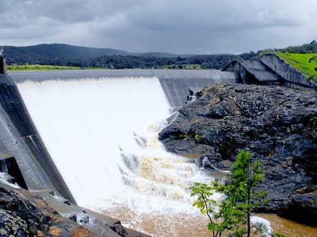 Wappa Dam spilling after rain.