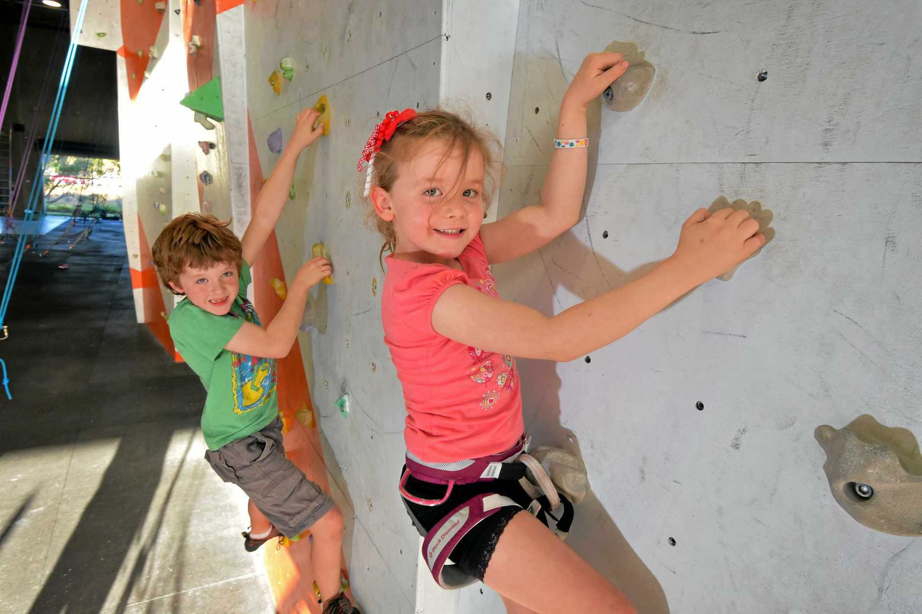Declan, 8, and Freya Goldston, 5, at the Rockit Climbing Gym at Warana.