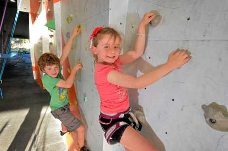 Declan, 8, and Freya Goldston, 5, at the Rockit Climbing Gym at Warana.