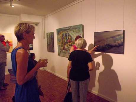 Guests enjoyed perusing the high quality of art at the Taste of Art exhibition at Noosa Regional Art Gallery.