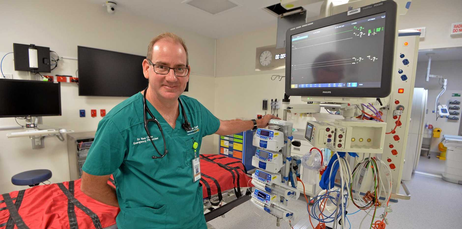 The new state of the art Emergency Department at the Sunshine Coast University Hospital. Dr Ben Close, Director of Emergency Department.