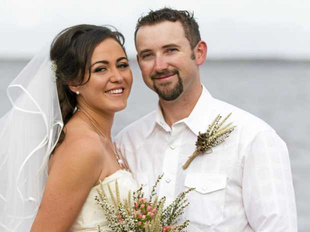 WHERE IT ALL STARTED: Jocie and Josh Brogden on their wedding day at Boreen Point.
