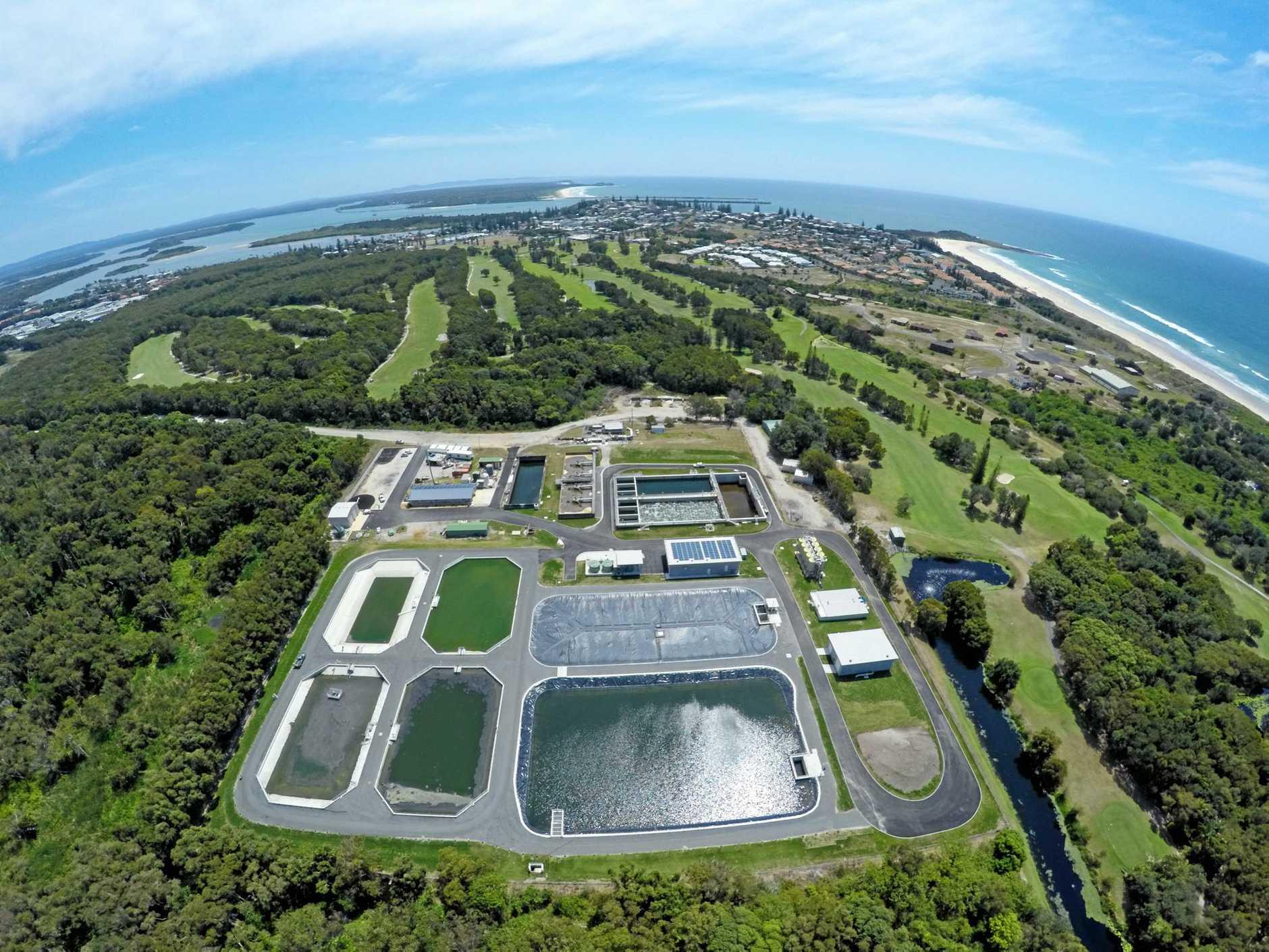 WINNER: An aerial photo of the award-winning sewerage augmentation project at Yamba.