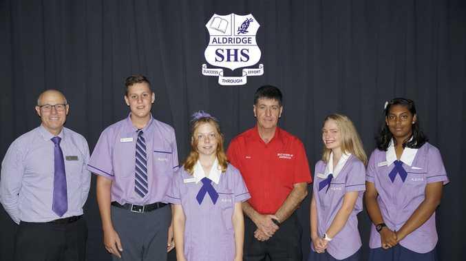 JUNIOR SCHOOL LEADERS: Aldridge State School deputy principal Jim McKee, Shaun Elliott, Teagan Brownsell, Member for Maryborough Bruce Saunders, Mikeeley Blyth and Simran Prasad.