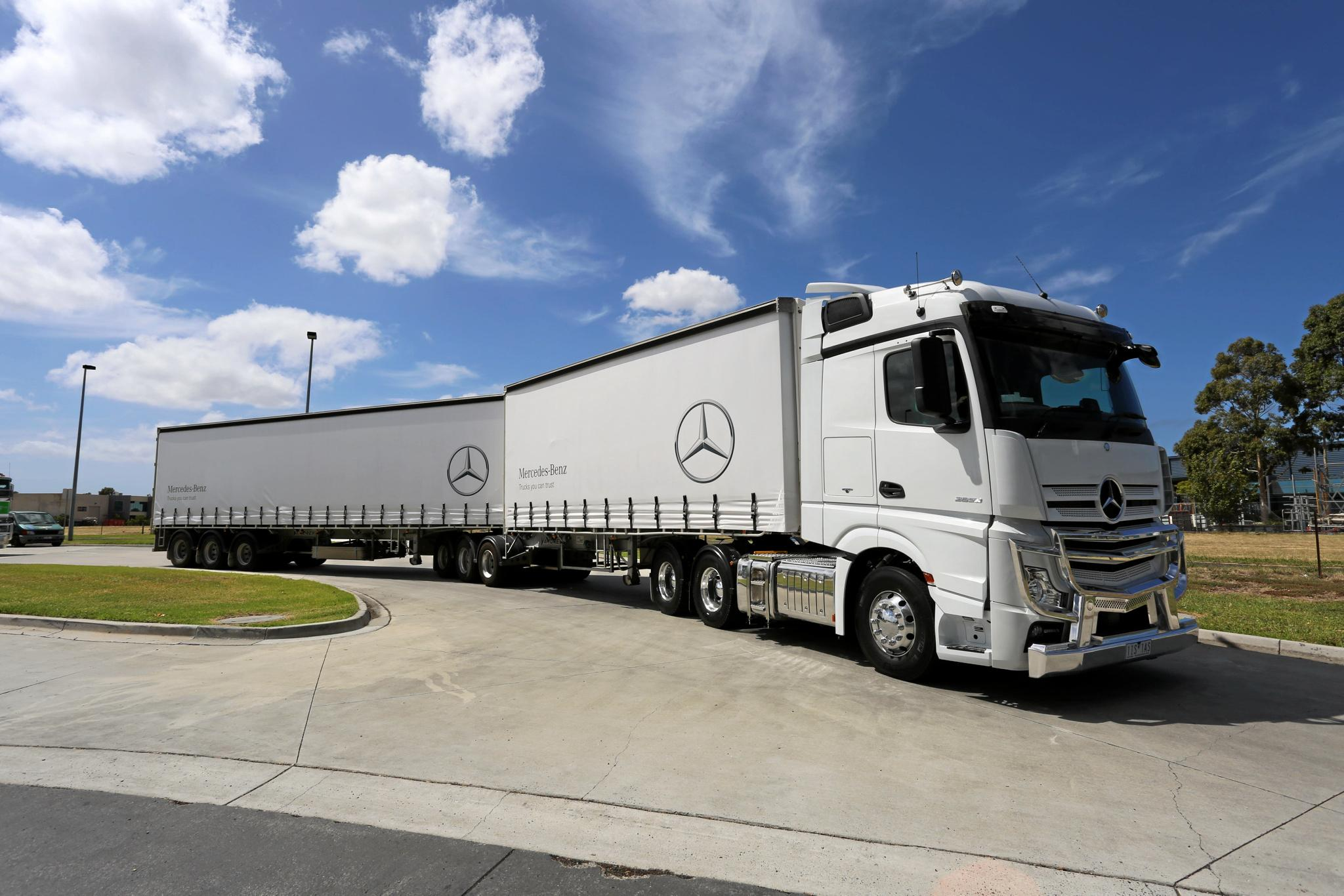 BIG MOVER: Mercedes-Benz 2653, a 13 litre powered B-double prime mover, struts its stuff, and all Euro VI with 8000km AdBlue range.