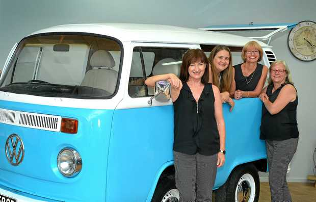 'ROD' WARRIOR: Trish Larfield, Angelika O'Neill, Robyn Hodder-MacNeill and Maggie James with Rodney the Combi. Snap a pic with Rodney for your chance to win at today's grand opening.