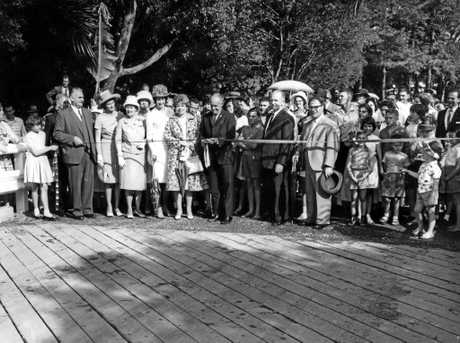 The opening of the Warana Bridge in Petrie Park by Alex Dewar, Minister for Labour and Industry and Tourist Activities, on September 28, 1963.