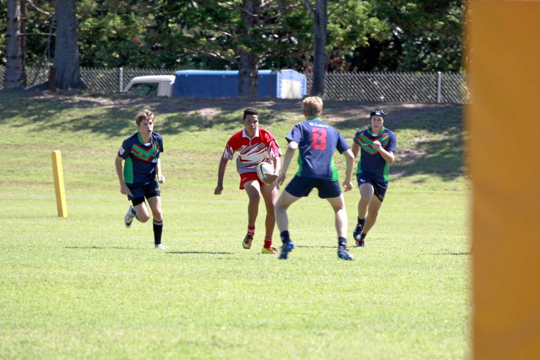 Eric Harrison plays for Urangan State High School in the Rugby 7s Invitational Tournament at FCAC on Saturday. Photo: Jocelyn Watts / Fraser Coast Chronicle