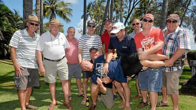 GENEROUS LARRIKINS: Rugby league legend Trevor Gillmeister (centre) was the mystery guest at Thursday's Jimmy Maher Larrikin Lunch which raised $10,000 for children's wards at Mackay hospitals. Lunch guests (from left) Peter Tait, Cam McMurtrie, Bill McMurtrie, Sean Graham, Rod Allen, Stuart McMurtrie, lunch organiser Jimmy Maher, Andrew McMurtrie, Josh Eisenmann and Greg Murphy contributed to the fundraising total by chipping in to buy a spot at the table at a Flagon and Dragon auction.
