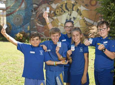 Wilsonton State School leaders (from left) Isiah Love, Toby Hey, Amelia Hope, Leah Walker and Trey Dallinger say Bullying No Way after an anti-bullying lesson, Friday, March 17, 2017.