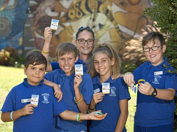 MAKING A DIFFERENCE: Taking a stand against bullying on National Day of Action against Bullying and Violence are Wilsonton State School leaders (from left) Isiah Love, Toby Hey, Amelia Hope, Leah Walker and Trey Dallinger.