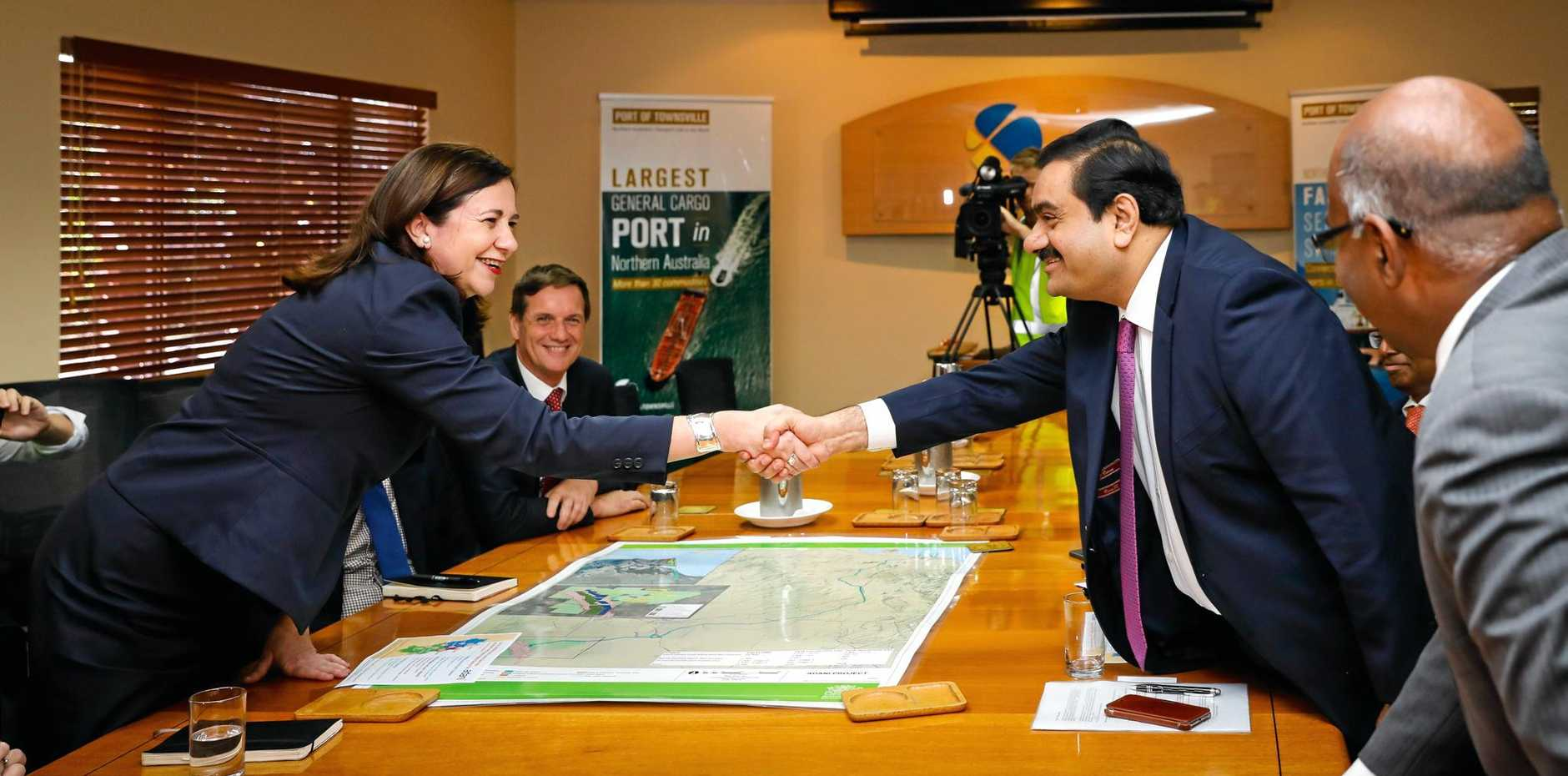 Adani Group chairman Gautam Adani and Queensland Premier Annastacia Palaszczuk meet at the Port of Townsville.