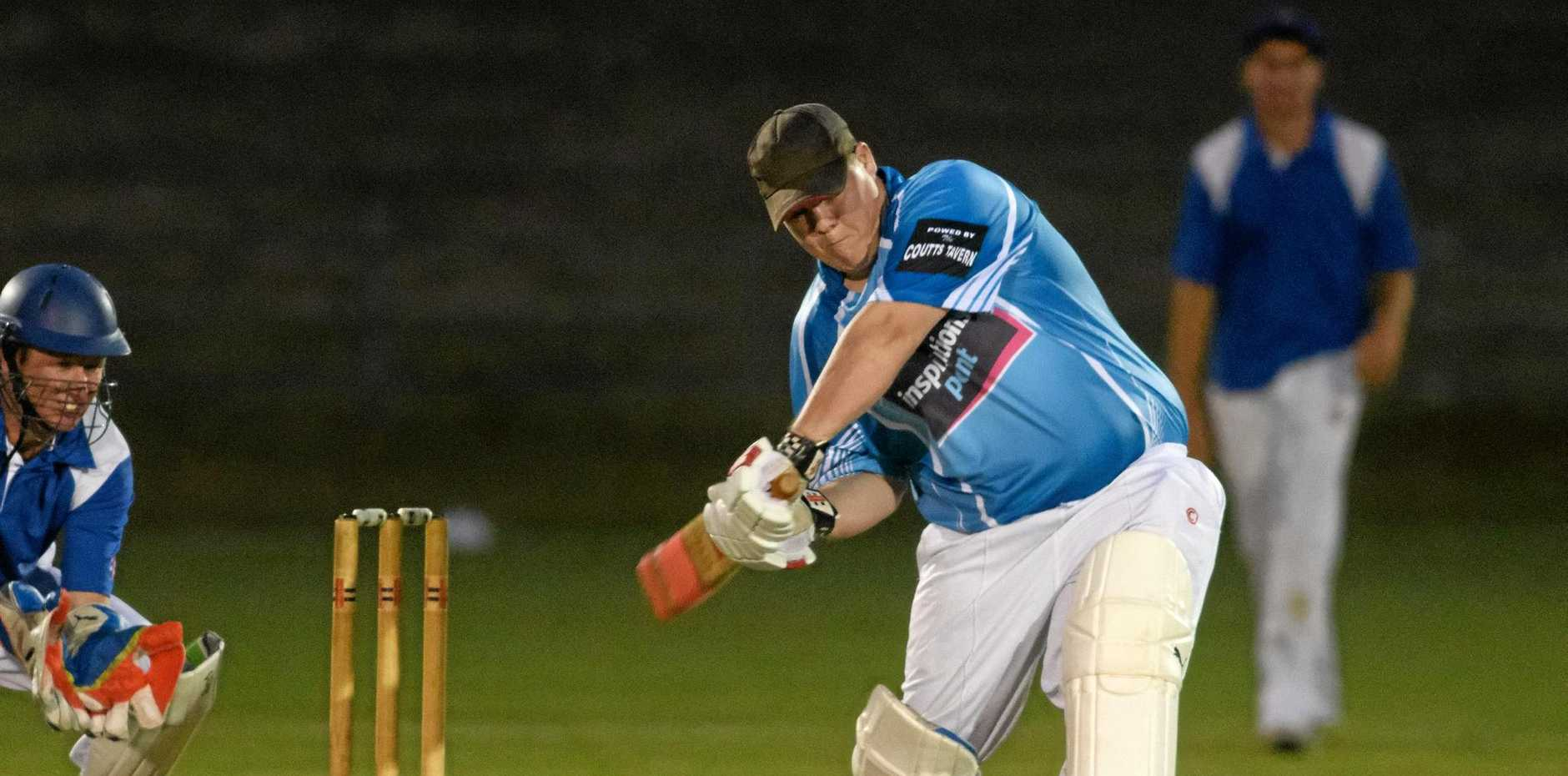 Brenda Cotten hits out for Coutts Crossing at the night cricket grand final at McKittrick Park.
