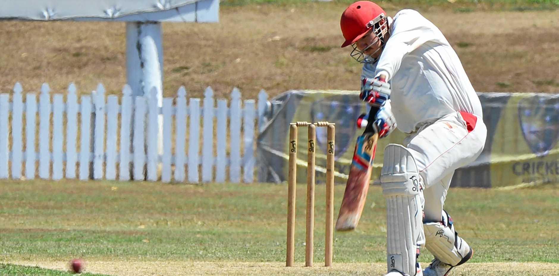 Scorchers Seconds v Redlands at Maroochydore Cricket ground. Captain Jacob Dennien drives.