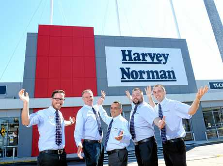 ALMOST READY: Five franchisees Brendan Nash, Ross McNamara, Samuel Mancini, Ryan Whittingstall and Ben Handy, at the new Harvey Norman Superstore located in the old Bunnings site at Booval.