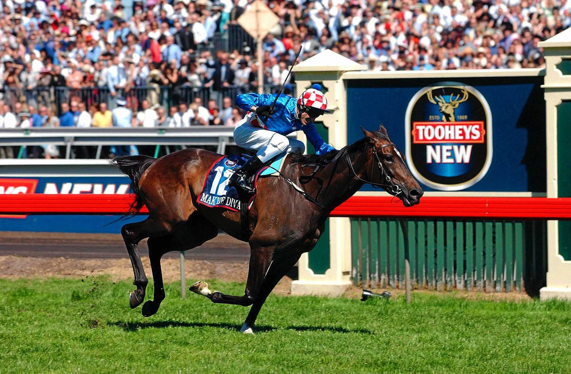 Melbourne, November 4, 2003. Makybe Diva jockeyed by Glen Boss and trained by David Hall wins the Melbourne Cup on the first Tuesday in November at Flemington Racecourse. (AAP Image/Julian Smith) NO ARCHIVING