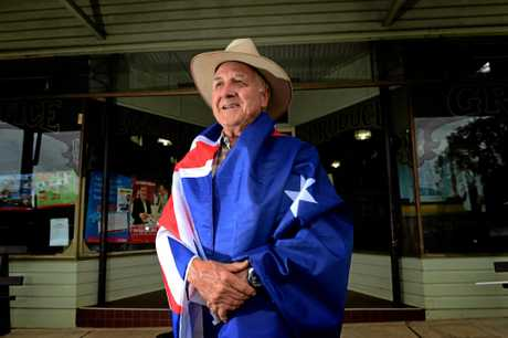 Dennis Scanlon is all dressed up for Australia Day 2013 in Tyalgum. Photo: John Gass  / Daily News