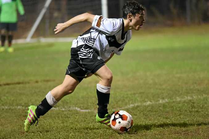Doon Villa's Beau Mackie in last week's FFA Cup match.
