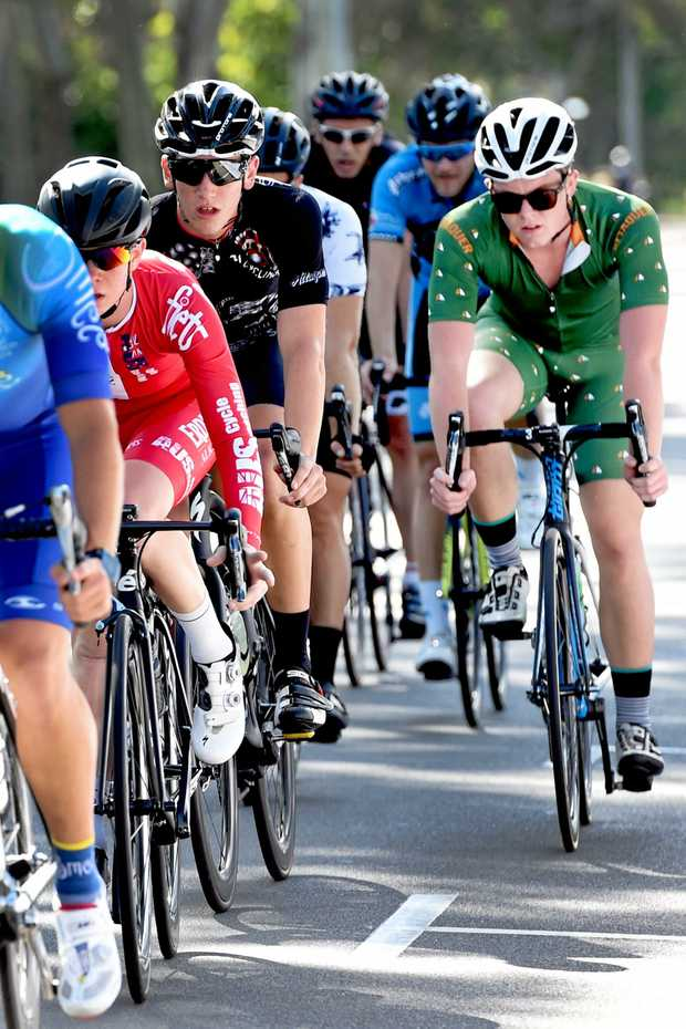 2016 Bay Break - Professional Cyclist Race - Tayte Dixon (in blacksuit) sits comfortably in the middle of the pack. Photo: Valerie Horton / Fraser Coast Chronicle