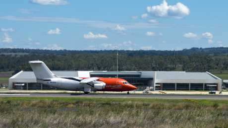 Pionair BAE 146-200 departs Wellcamp Rwy 30 bound for Cairns then Weipa. Photo Garry Wilkinson