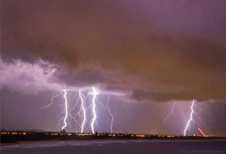 The lightning display as seen from Moffatt Beach.