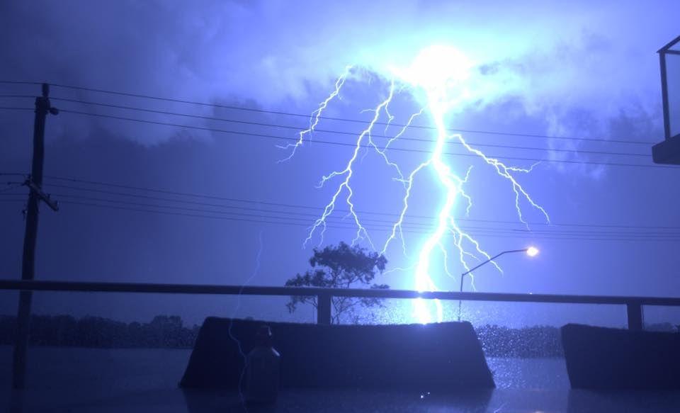 The lightning from Bradman Ave, Maroochydore.