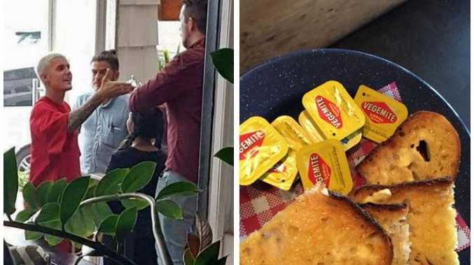 The Canadian singer even shook the staff's hand. Staffer Camilla Glover prepared some white toast and gave the star some extra vegemite for the road trip.