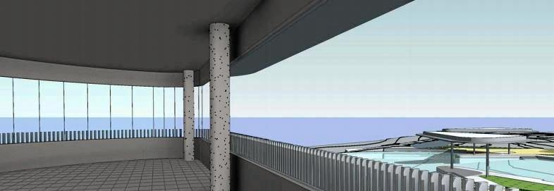 An artist's impression of the view from the double level pavilion overlooking the Yeppoon lagoon precinct.