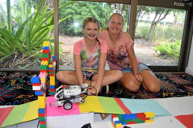 LEGO FUN: Lily West and Skyra Goody at the LEGO League Robotics Community event at the Proserpine Entertainment Centre on Saturday.