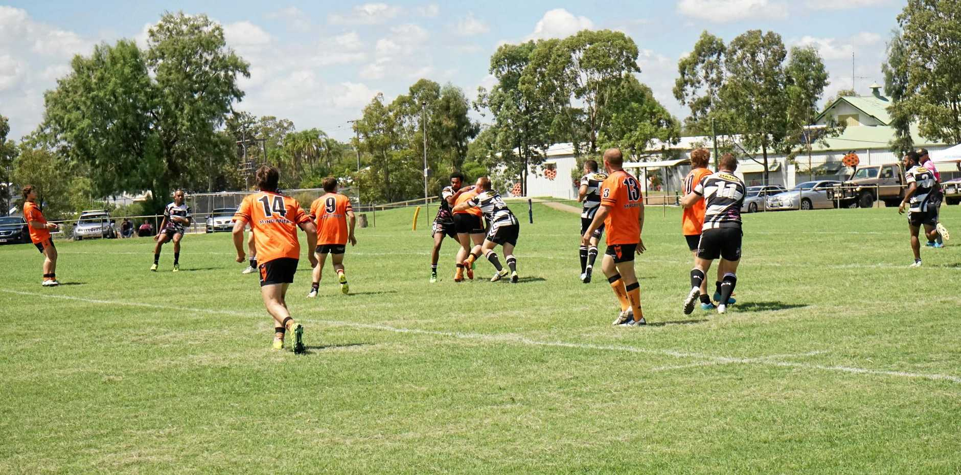 CLASH: Rugby League players competing in the Clash for Cash competition in Mundubbera.