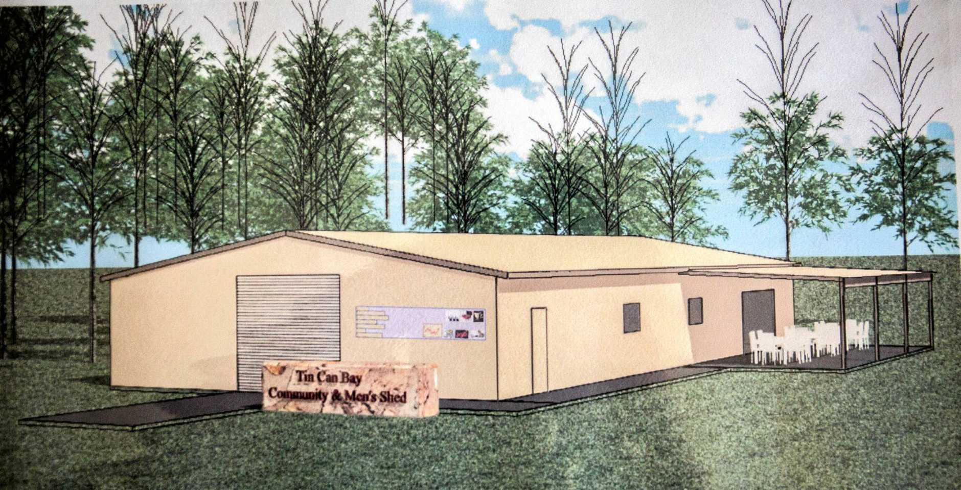 Artist impression and floor plan for the Tin Can Bay men's shed.