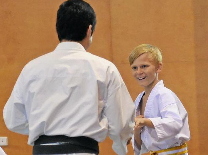 Ash McGrath training with Tatsuya Naka Sensei at the JKA training seminar held in Mackay on March 17 and 18.