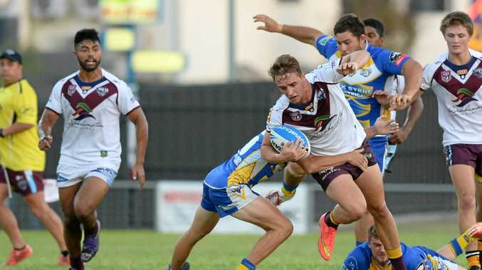 Capras player Sam Smith in the trial game against the Yeppoon Seagulls at Browne Park.