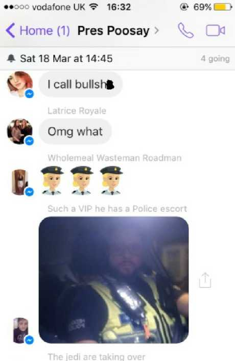 The exchange on Facebook Messanger between the police officer and Cameron's friends.Source:Facebook