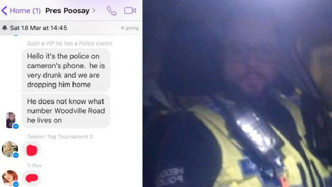 A police officer in Wales hijacked a group chat after he found one of its members too drunk to remember where he lived.