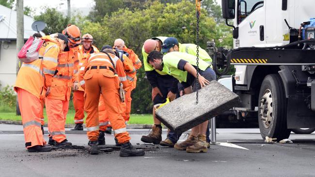 Pipes are checked during the search for Ryan Teasdale.Source:News Corp Australia